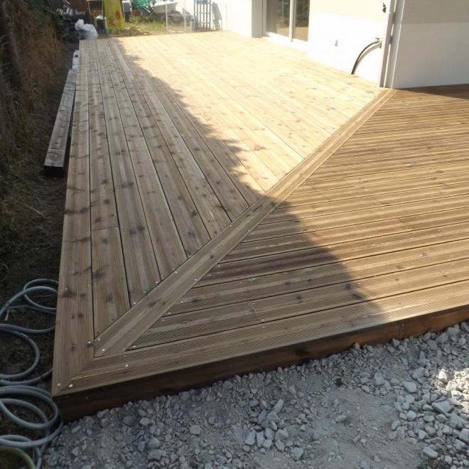 sur cénac gironde terrasse en pin traité brun sur cénac gironde