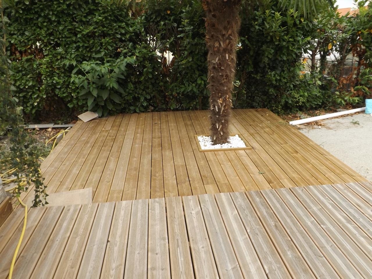 Extension terrasse en pin traité vert sur DAX