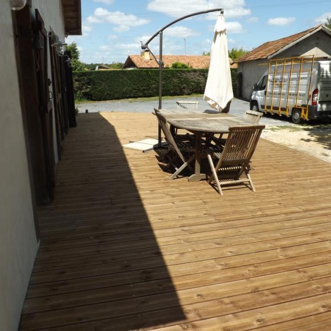 extérieurs terrasse en pin traité brun sur candresse terrasse en pin